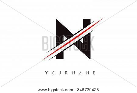 N Letter Logo Design Cutted In The Middle With A Red Line And With Sharp Edges.  Creative Logo Desig