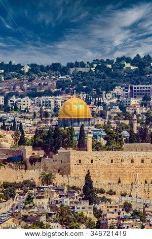 Panorama Of Jerusalem, Israel. Tempel Mount Al-aksa.