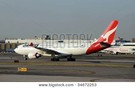 Qantas Jet Airplane In New York