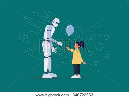 Ai. Friendship of a child and a robot. Little girl gives a balloon to a robot. Android, cyborg, humanoid robot, friendship concept, flat cartoon vector illustration. Human girl and robot walking together as friends