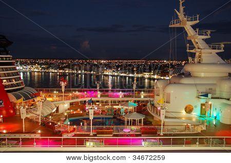Diney Magic Cruise Ship deaprts at night