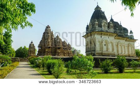 Famous Indian Madhya Pradesh Tourist Landmark - Kandariya Mahadev Temple, Khajuraho, India. Unesco W