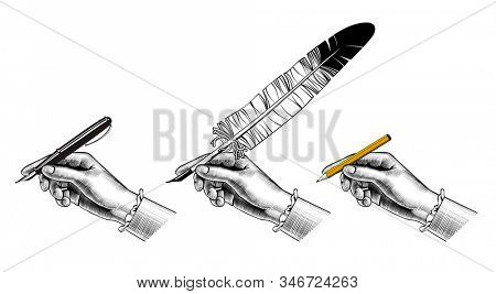 Female hand's with a pencil, a feather pen, a pen. Retro design element. Vintage engraving stylized drawing.