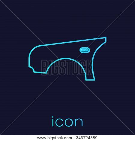 Turquoise Line Car Fender Icon Isolated On Blue Background. Vector Illustration