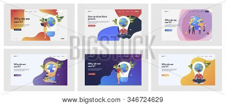 Set Of Casual People With Giant Light Bulbs. Flat Vector Illustrations Of Men, Women Sitting Near Ea
