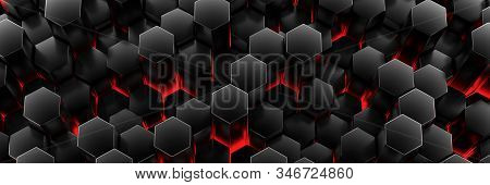 Black Wall Of Honeycombs. Chaotic Cubes Wall Background. Panorama With High Resolution Wallpaper. 3d