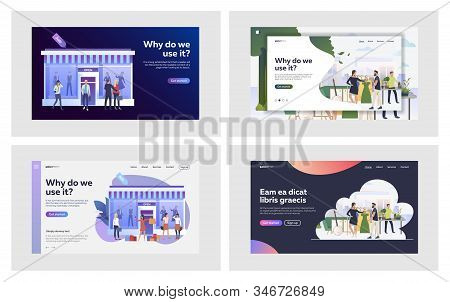 Clothing Store Set. Customers Choosing Clothes In Fashion Shops And Boutiques. Flat Vector Illustrat