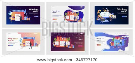 Set Of Casual People Buying Things Online. Flat Vector Illustrations Of Men And Women Doing Shopping