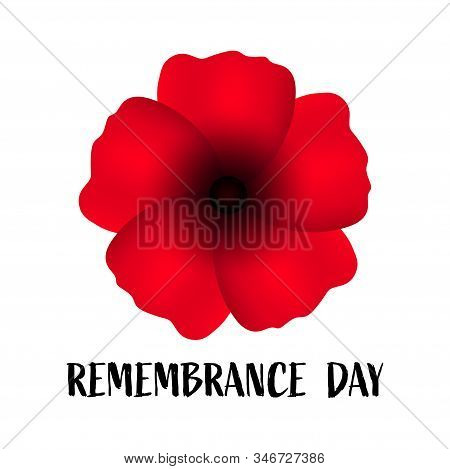 Remembrance Day, Great Design For Any Purposes. Anzac. Poppy Flower Symbol. Military History. Vector