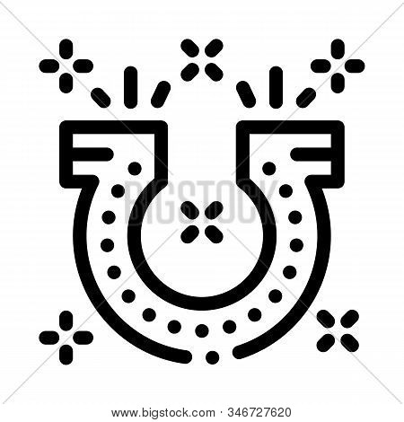 Horseshoe For Good Luck Icon Vector. Outline Horseshoe For Good Luck Sign. Isolated Contour Symbol I