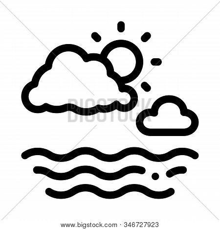 Cloudy Weather On Sea Icon Vector. Outline Cloudy Weather On Sea Sign. Isolated Contour Symbol Illus