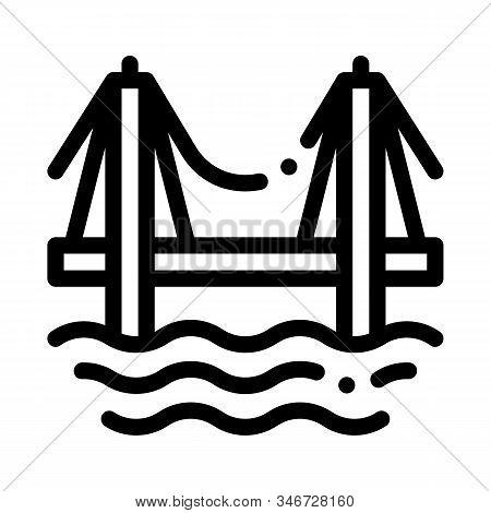 Sea Bridge Icon Vector. Outline Sea Bridge Sign. Isolated Contour Symbol Illustration