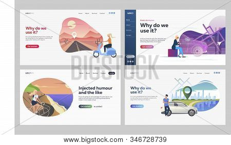Set Of People Using Private Transport. Flat Vector Illustrations Of People Driving Vehicles. Riding