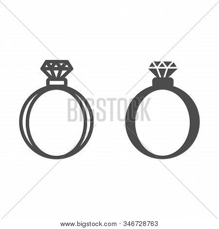 Gemstone Ring Line And Solid Icon. Romantic Wedding Or Engagement Ring With Diamond Illustration Iso
