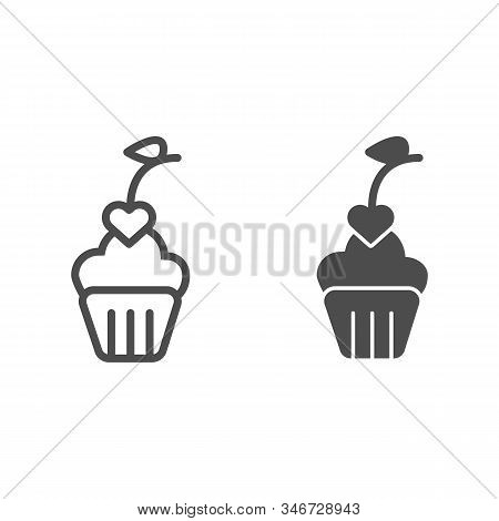 Heart Cupcake Line And Solid Icon. Romantic Valentine Cupcake Illustration Isolated On White. Cupcak