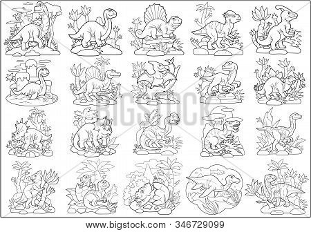 Cute Cartoon Prehistoric Dinosaurs, Coloring Book, Set Of Funny Images