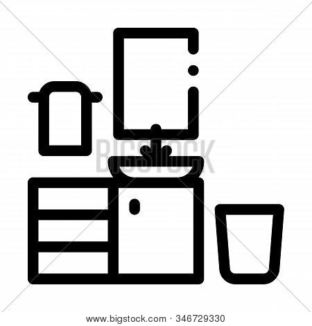 Washbasin With Mirror Icon Vector. Outline Washbasin With Mirror Sign. Isolated Contour Symbol Illus