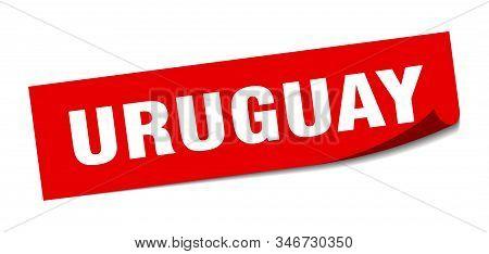Uruguay Sticker. Uruguay Red Square Peeler Sign