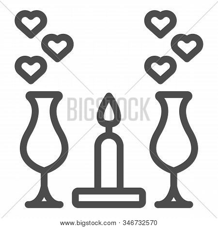 Romantic Dinner Candles Line Icon. Dinner With Glasses And Candlelight Illustration Isolated On Whit