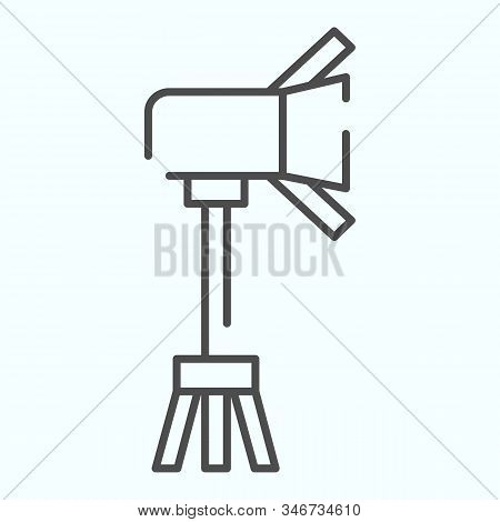 Spotlight Thin Line Icon. Lamp To Power Light For Photography Vector Illustration Isolated On White.