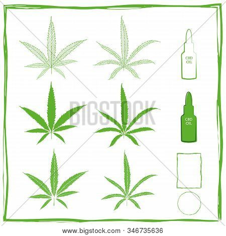 Painterly Cannabidiol Vector Green Icons Set In Line Art, Silhouette And Stencil. Two Different Type