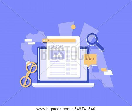 Business Blogging, Commercial Blog Posting, Internet Blogging Service Flat Design Vector
