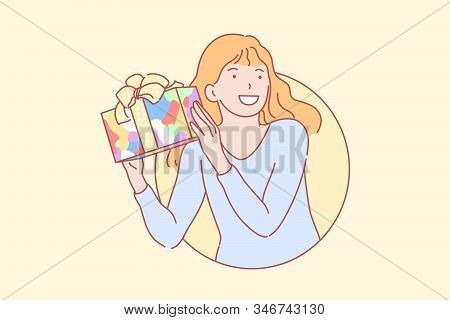Birthday, Gift, Happiness, Surprise Concept. Happy Girl Getting Colorful Present. Young Excited Scho
