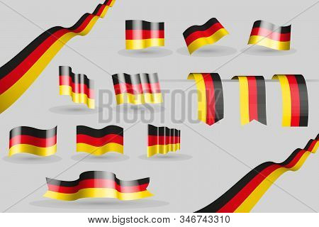 Waving Germany Banners And 3 Bookmarks In The Colors Of The Flag - Black, Red, Yellow, Many 9 Flags