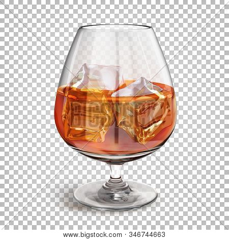 Transparent Shiny Glass On A Leg With Cognac With Ice Cubes. Vector 3d Realistic Illustration Isolat