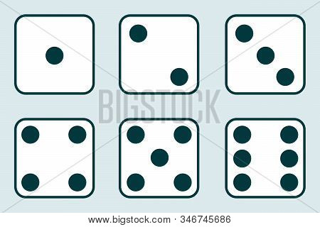 Dice, Set Of Vintage Dices Isolated On A Light Background. Vector Illustration Of Dice.