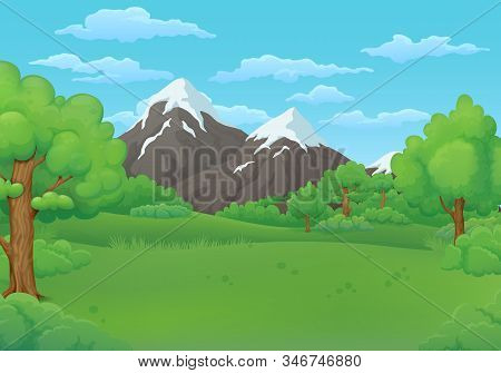 Summer Day Vector Illustration. Green Meadows With Lush Trees And Bushes. Snowy Mountains And Blue S