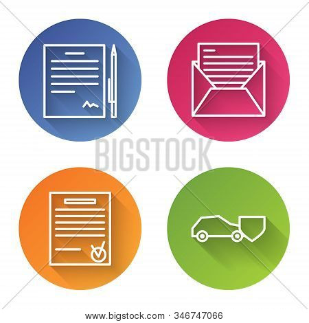 Set Line Contract With Pen, Mail And E-mail, Confirmed Document And Check Mark And Car With Shield.