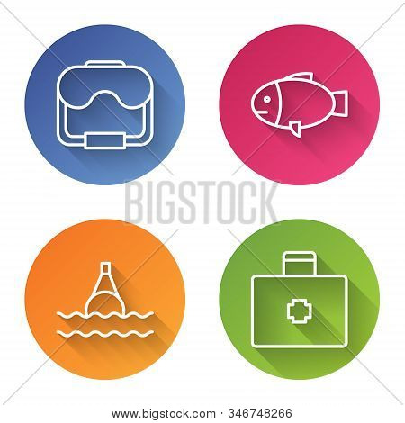 Set Line Diving Mask, Fish, Floating Buoy On The Sea And First Aid Kit. Color Circle Button. Vector