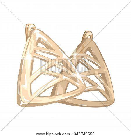 Modern Golden Triangle Shape Earrings With Intersecting Lines. Stylish Jewelry, Bijouterie. Beautifu