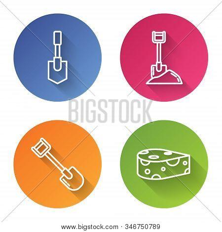 Set Line Shovel, Shovel In The Ground, Shovel And Cheese. Color Circle Button. Vector