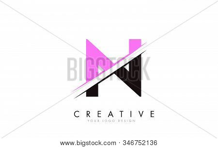 N Letter Logo Design With A Creative Cut And Pink Color. Creative Logo Design. Fashion Icon Design T