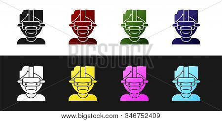 Set Virtual Reality Glasses Icon Isolated On Black And White Background. Stereoscopic 3d Vr Mask. Ve