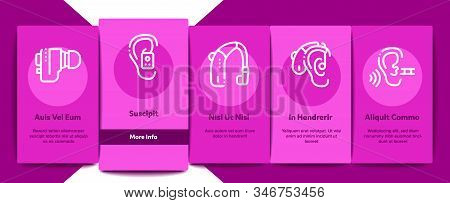 Hearing Human Sense Onboarding Mobile App Page Screen Vector. Hearing Aid Device And Earphone. Docto