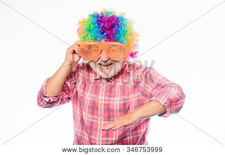 Having Fun. Funny Lifestyle. Fun And Entertainment. Comic Grandfather Concept. Nice Joke. Grandpa Al