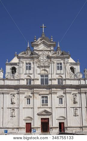 Coimbra, Portugal - Sept 6th 2019: Facade Of The New Coimbra Cathedral, Portugal