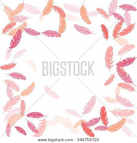 Fashoinable Pink Flamingo Feathers Vector Background. Falling Feather Elements Soft Vector Design. P