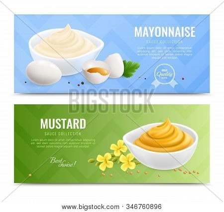 Two Horizontal Mustard Realistic Banner Set With Mayonnaise And Mustard Sauce Collection Description