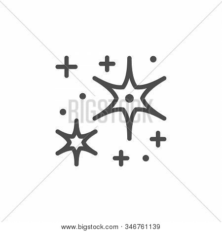 Sparkling And Twinkling Line Outline Icon Isolated On White. Festive Twinkle And Sparkle Element. St