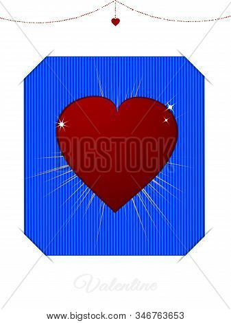 Valentine White Blank Card With Red Love Heart Over Blue Background And Decorative Text