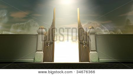 The gates to heaven opening under an ethereal light poster