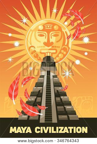 Maya Civilization Vertical Poster With Kukulkan Ancient Pyramid On Beige Background With Stylized Ma