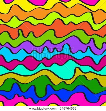 Seamless Positive Vector Of Wavy Lines, Abstract Liquid Pattern, Bright Background Of Curves