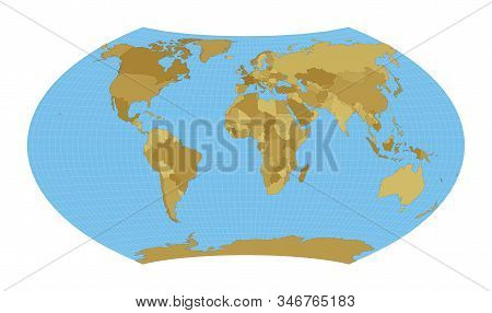 World Map. Wagner Projection. Map Of The World With Meridians On Blue Background. Vector Illustratio