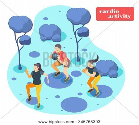 Cardio Fitness Activity Fast Paced Ball Exercise For Total Body Strength Outdoor Workout Isometric B