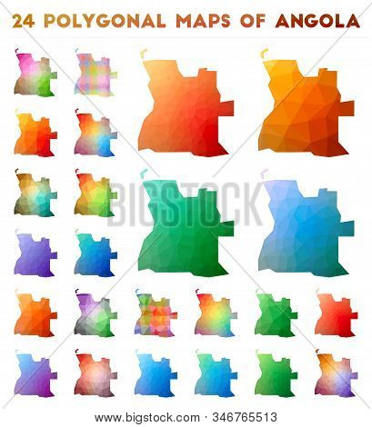 Set Of Vector Polygonal Maps Of Angola. Bright Gradient Map Of Country In Low Poly Style. Multicolor